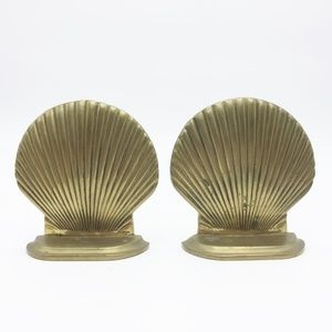Brass Bookends Shells Vintage